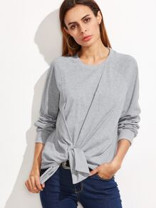 Sweat-shirt manche raglan cravate devant -gris bruyère