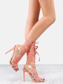 Stiletto Lace Up Clear Strap Heels BLUSH
