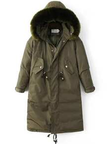 Army Green Drawstring Hooded Padded Coat With Faux Fur