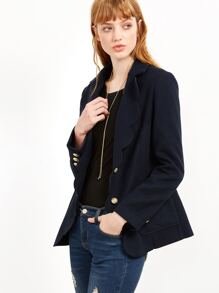Navy Scallop Trim Single Breasted Blazer