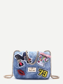 Blue Denim Catoon Patch Mini Quilted Chain Bag