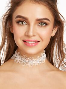 White Floral Hollow Out Lace Wide Choker