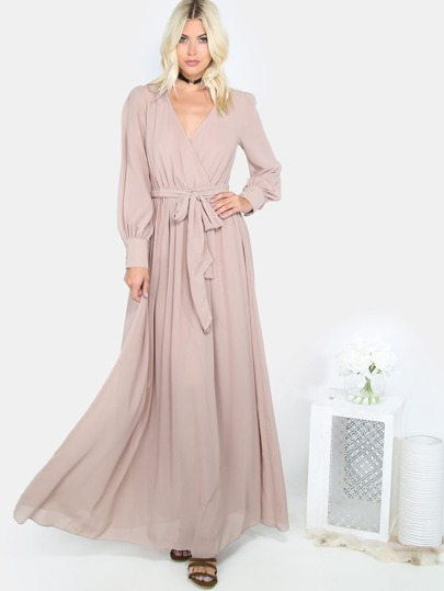 Wrap V Neckline Self Tie Maxi Dress