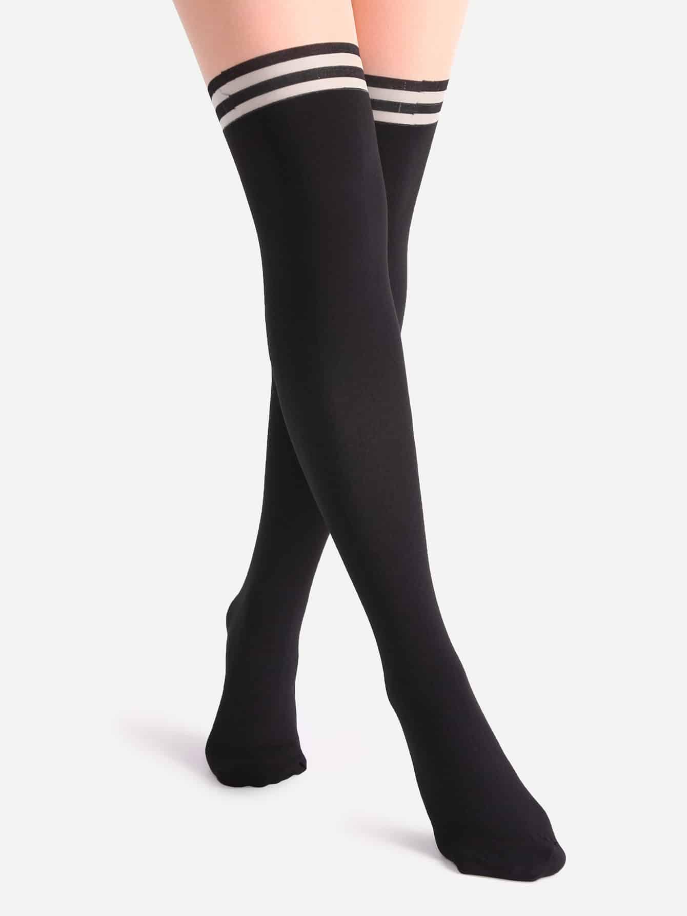 Black And Nude Patchwork Striped Pantyhose Stockings mesh design pantyhose stockings