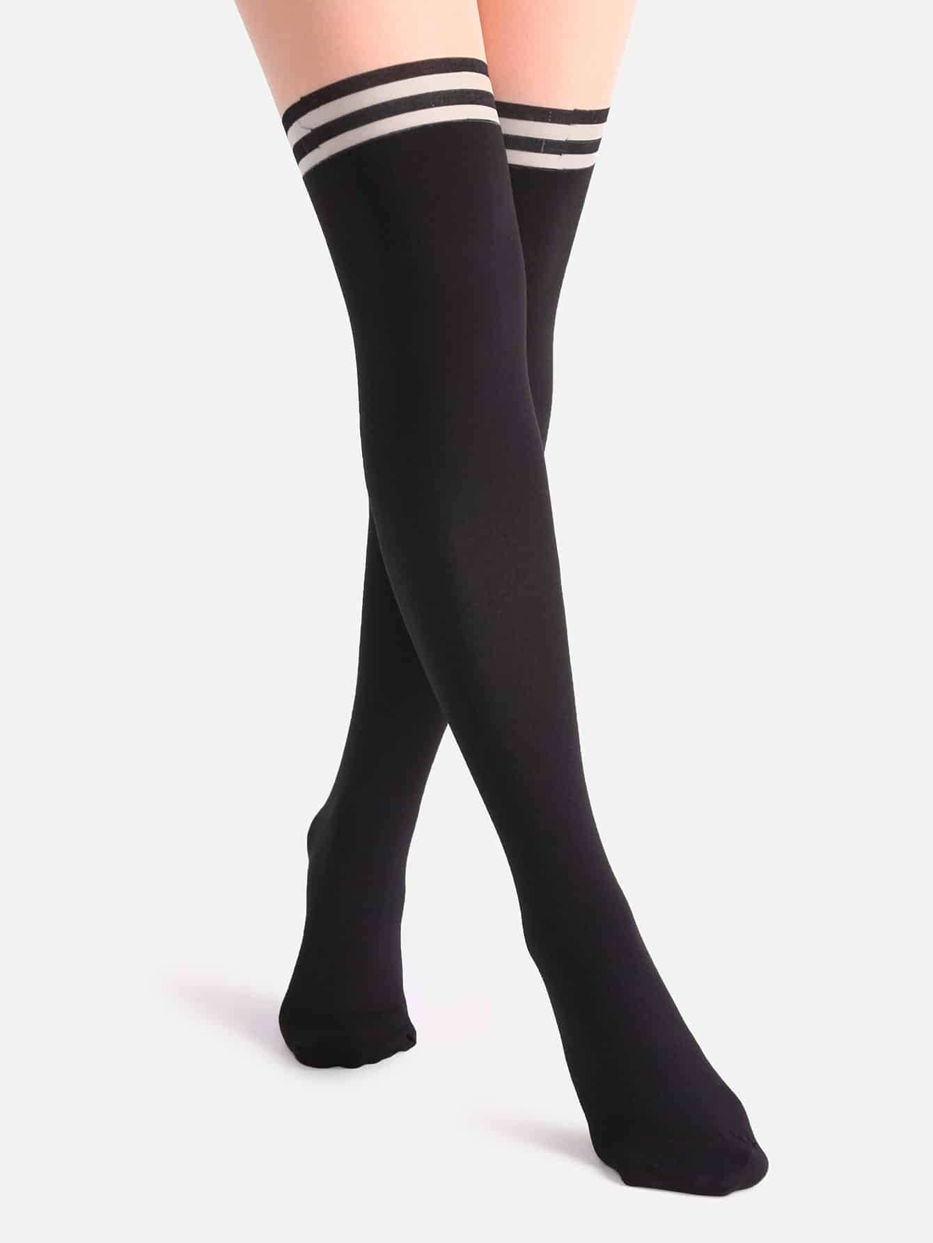 Black And Nude Patchwork Striped Pantyhose Stockings sock161102303