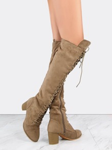 Lace Up Suede Chunky Heel Boots TAUPE