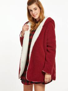 Burgundy Drop Shoulder Two Way Hooded Fleece Coat