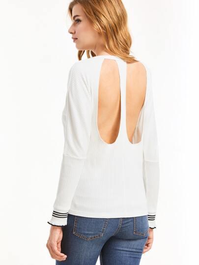 White Striped Trim Hollow Back T-Shirt