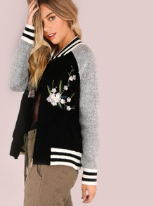 Emroidered Floral Patch Varsity Knit Bomber BLACK