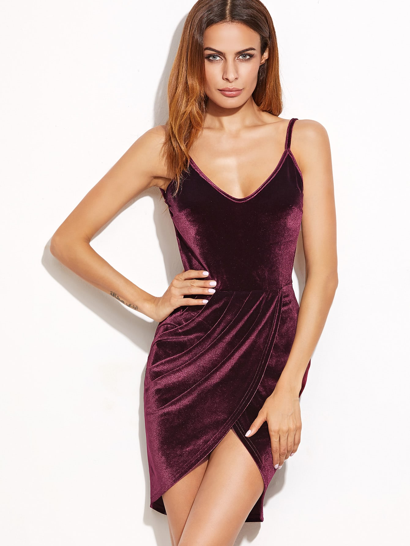 Backless Ruched Velvet Wrap Cami Dress Shein Sheinside