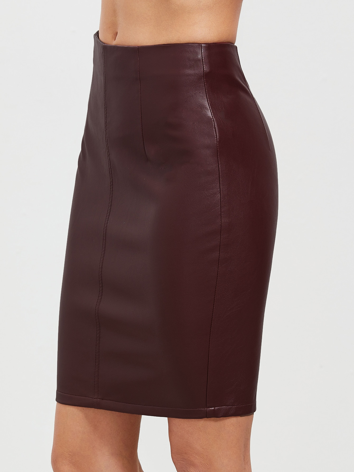 Burgundy Faux Leather Slit Back Bodycon SkirtBurgundy Faux Leather Slit Back Bodycon Skirt<br><br>color: Burgundy<br>size: XS
