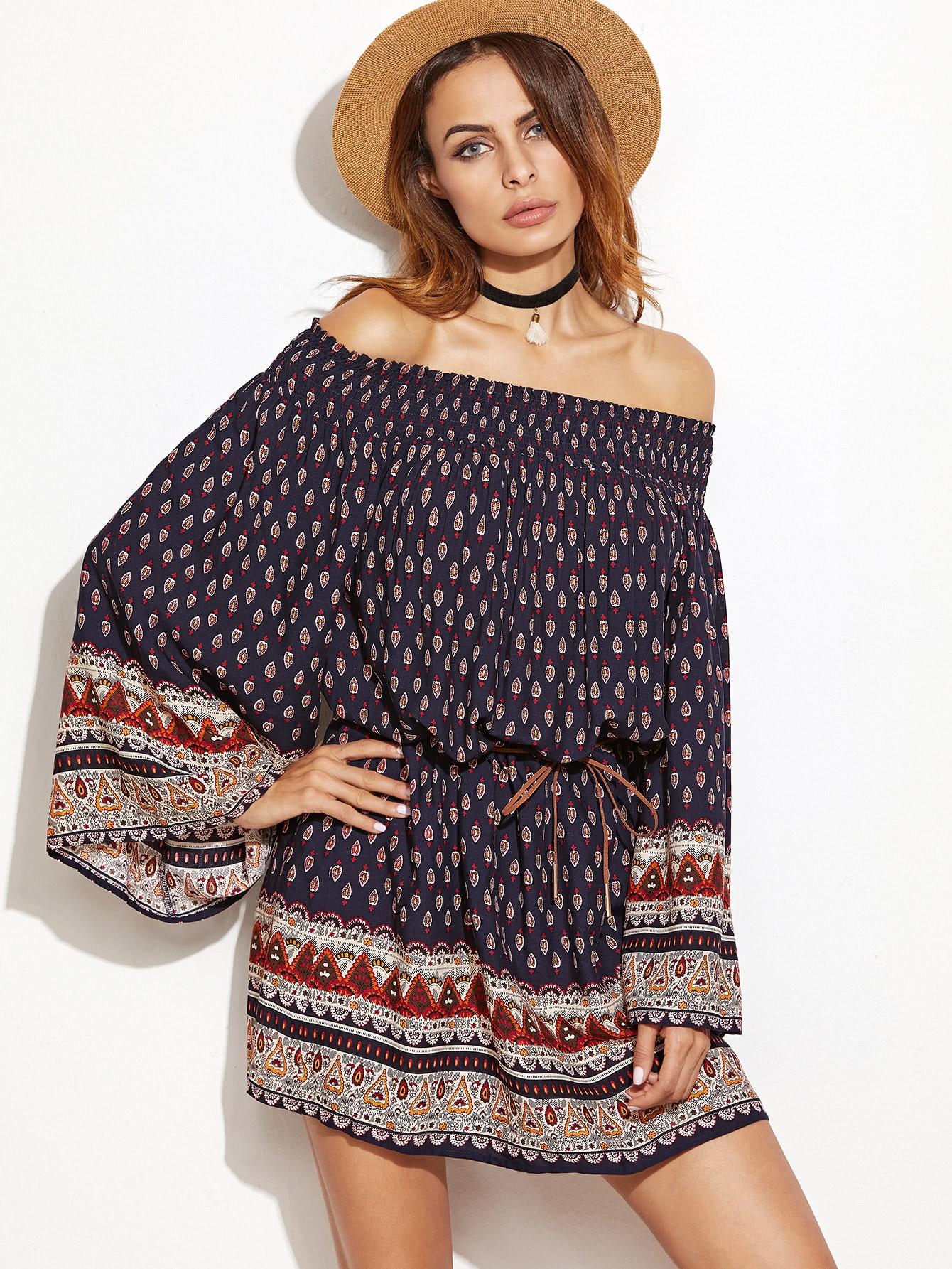 Фото Off Shoulder Kimono Sleeve Aztec Print Dress. Купить с доставкой