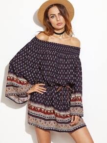Navy Ornate Print Kimono Sleeve Smocked Off The Shoulder Dress