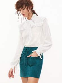 White Tie Neck And Cuff Textured Ruffle Blouse