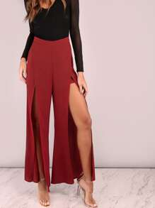 Burgundy Slit Wrap Pants
