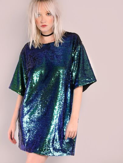 Iridescent Green Sequin Tee Dress