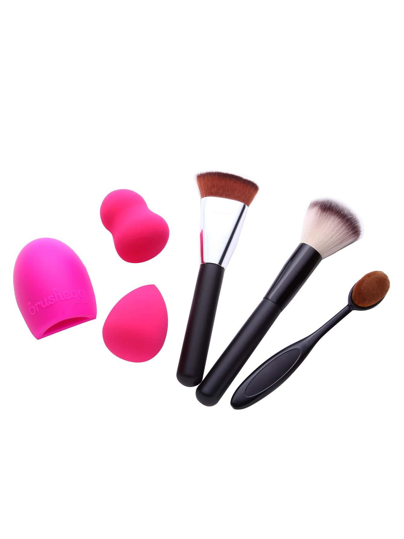 Фото 6PCS Brush Cleaning Brush Powder Puff Makeup Tool Set. Купить с доставкой