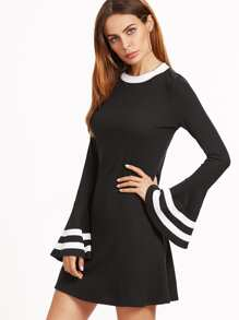 Black Contrast Neck Striped Bell Sleeve Ribbed Dress