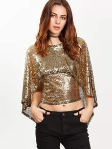 Gold Backless Crop Cape Blouse