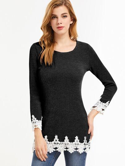 Black Contrast Crochet Ribbed T-shirt