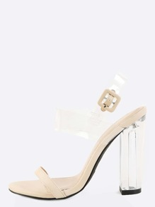 Transparent Strap Chunky Perspex Heels NUDE