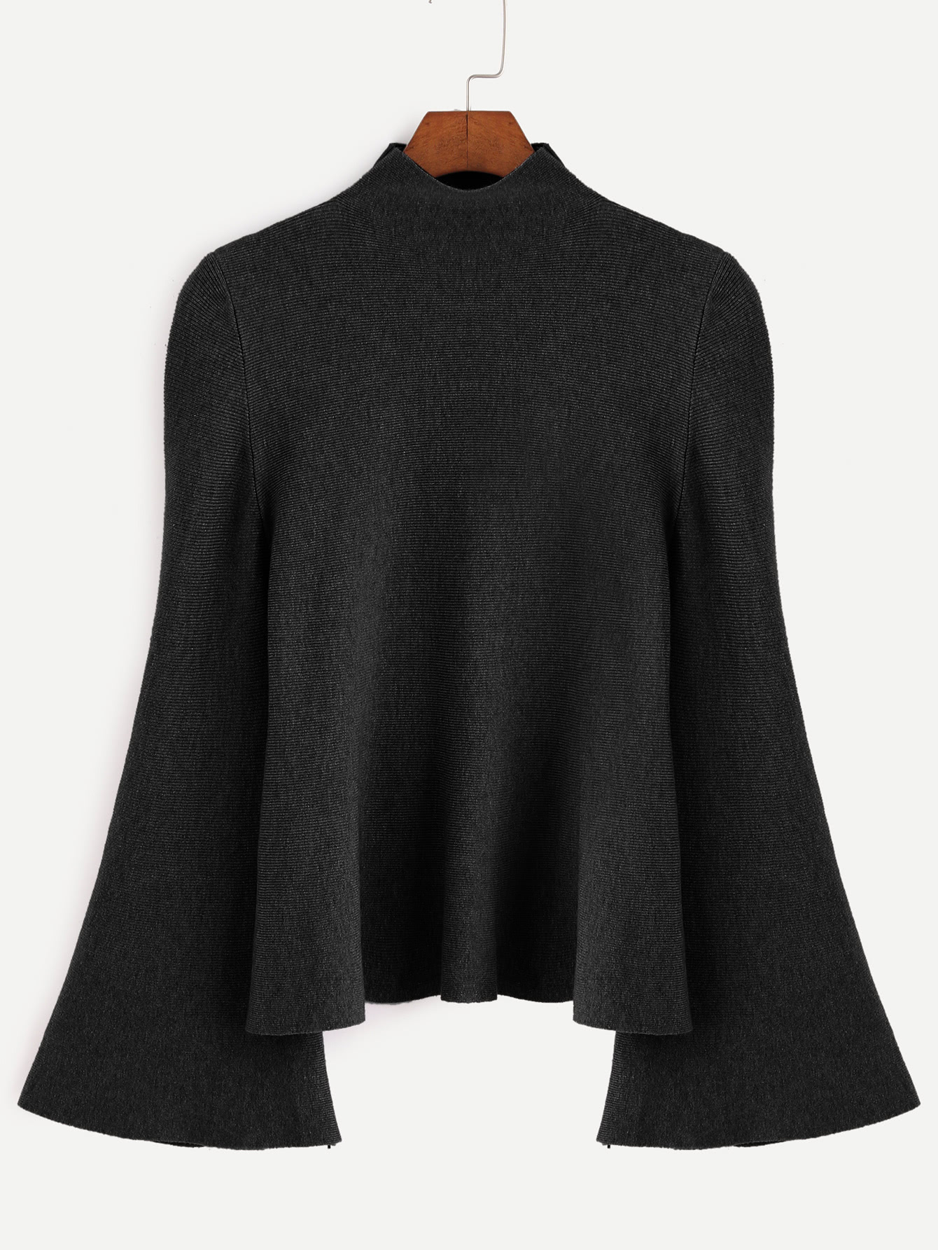 Фото Black Mock Neck Bell Sleeve Jersey Sweater. Купить с доставкой