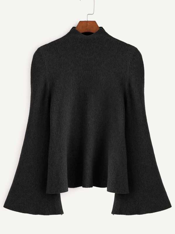 Black Mock Neck Bell Sleeve Jersey Sweater, null