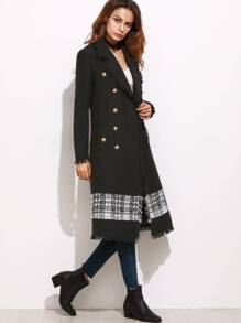 Black Contrast Panel Fringe Trim Double Breasted Tweed Coat