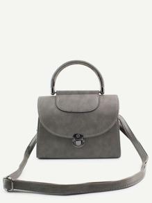 Grey PU Pushlock Closure Flap Handbag With Strap