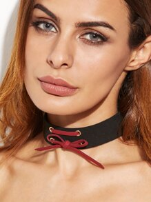 Burgundy And Black Lace Up Bow Choker Necklace