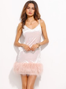 Pink Velvet Faux Fur Trim Slip Dress