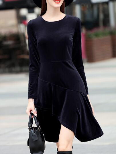 Black Crew Neck Velvet High Low Dress