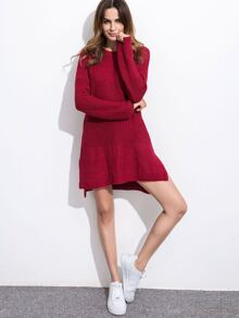 Burgundy Drop Shoulder Slit Side High Low Sweater Dress