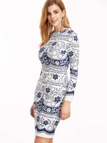 Navy And White Flower Print Long Sleeve Sheath Dress