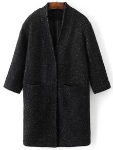 Black Hidden Button Pocket Wool Blend Coat