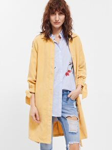 Yellow Belted Tie Sleeve Cord Coat