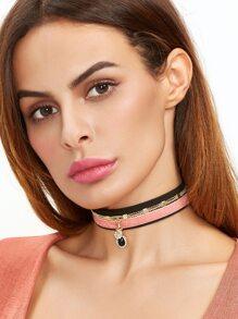 Pink Velvet Gold Star Rhinestone Layered Choker Necklace