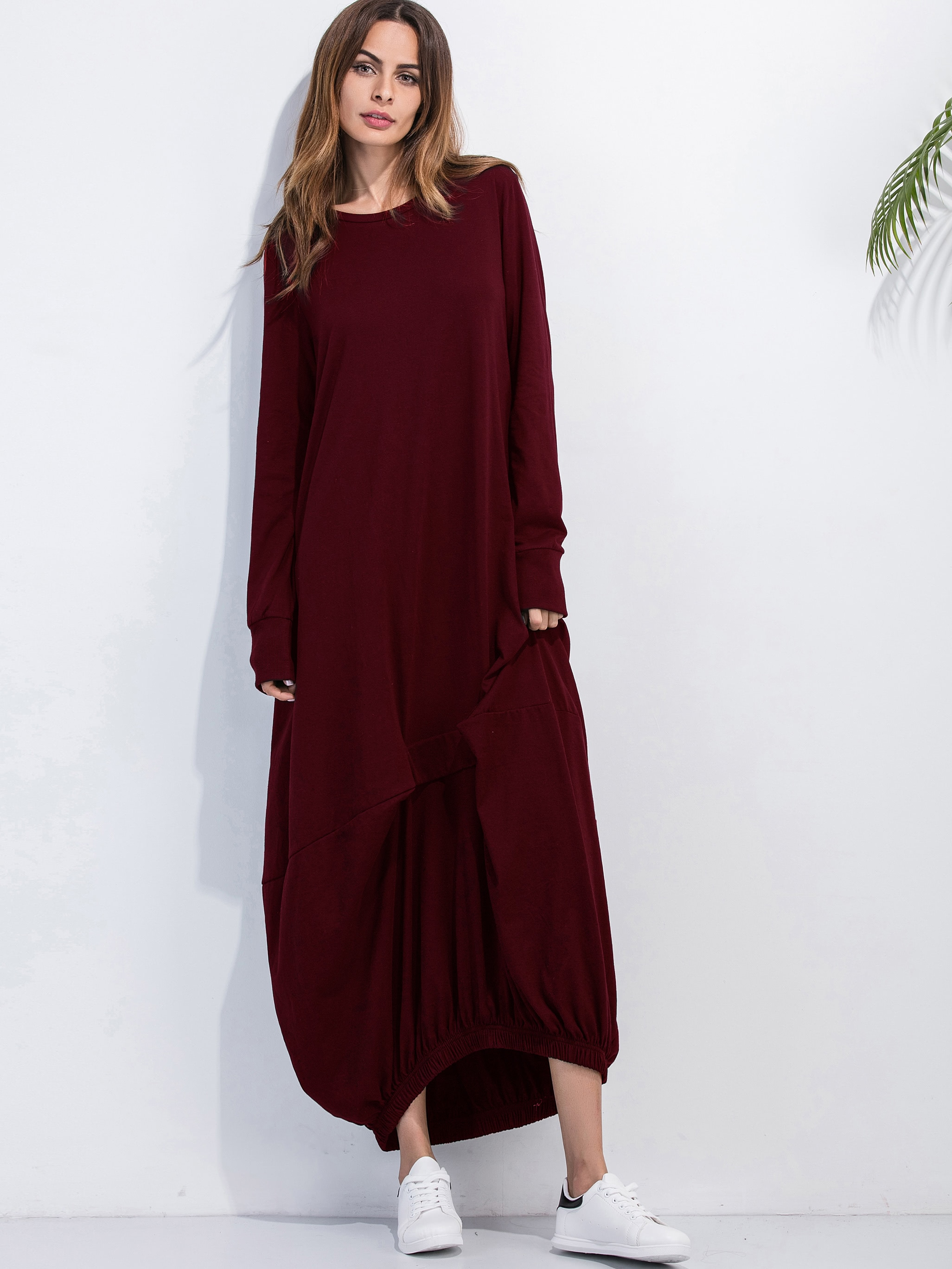 Burgundy Elastic Hem Shift Dress