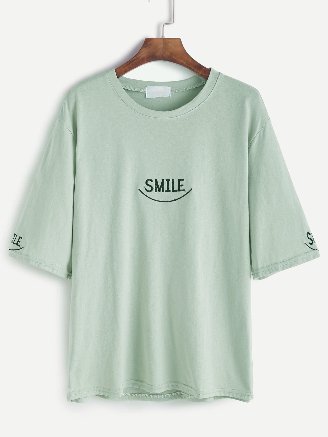 Фото Drop Shoulder Letter Embroidery T-shirt. Купить с доставкой