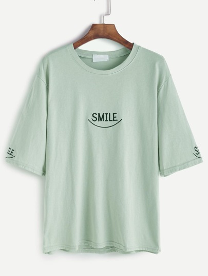 Drop Shoulder Letter Embroidery T-shirt