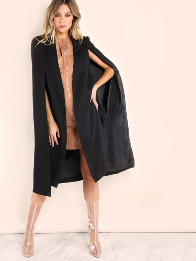 Collarless Open Front Cape Coat
