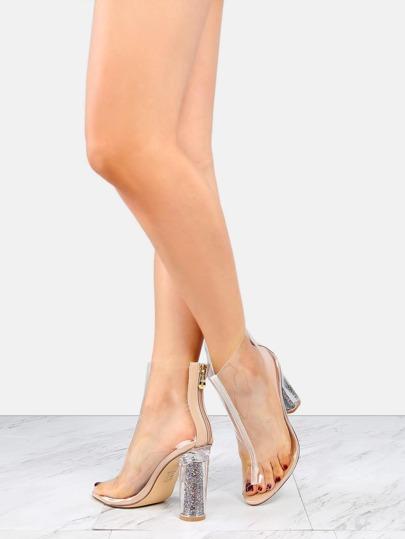 Transparent Glitter Heel Booties CLEAR