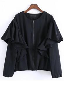 Black Ruffle Detail Zipper Up Coat