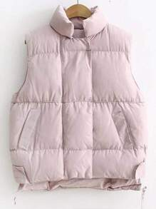 Pink Stand Collar High Low Padded Vest