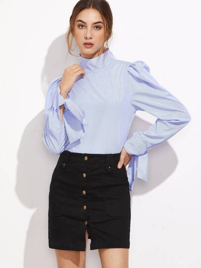 Puff Sleeve Striped Button Back Blouse