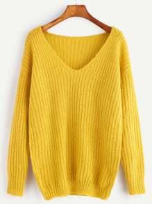 Jersey de canalé con escote V y hombro caído - amarillo