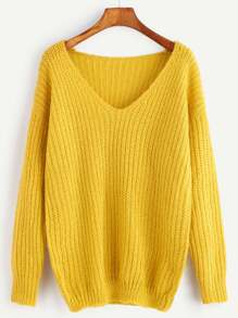 Pull tricoté à nervures col V - jaune