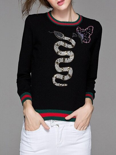 Black Snake Sequined Striped Sweater
