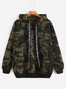Camo Letter Print Hooded Drop Shoulder Pockets Sweatshirt