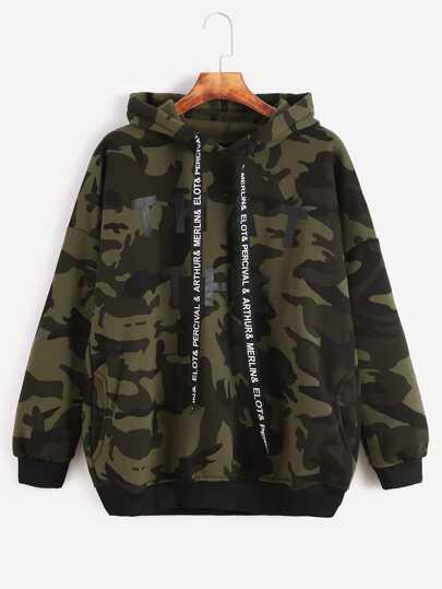Camo Letter Print Hooded Drop Shoulder Pockets Sweatshirt